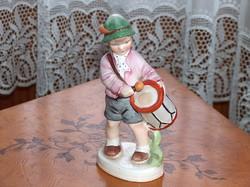 Régi Sitzendorf porcelán szobor: dobos fiú, nagyméretű, hibátlan