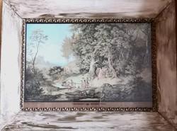 Richter Adrián Lajos – Nászmenet egy tavaszi tájon című festményének nyomata vintage keretben – 153.