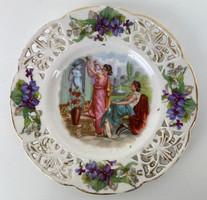 Teljes hagyaték aukción! Extra ritka Zsolnay dísztányér TJM családi jeles 1889 körül 1 Ft-ról!