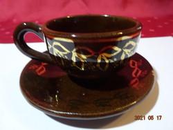 Csoki barna mázas kerámia kávéscsésze + alátét.