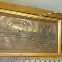Antik Hamburg 1840. Bronz Kézzel Domborított Kép Látkép.72 cm