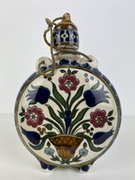 Teljes hagyaték aukción! Hibátlan Zsolnay Klein Ármin kulacs Z.W. Pécs 1880 körül 1 Ft-ról!