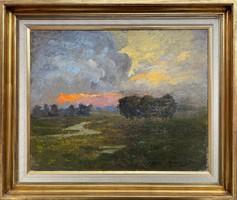 Teljes hagyaték aukción! Hatalmas Madarász Gyula (1858-1931) olaj,vászon festmény! Gyönyörű 1 Ft-ról