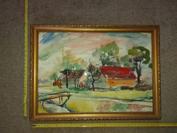 Akvarell festmény, tanyavilág, szép keretben, 34,5x49 cm+keret