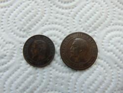 Franciaország 10 centimes 1856 - 5 centimes 1854 LOT !