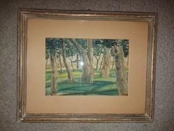 Kis akvarell festmény, erdő, nincs szignó, méret jelezve!