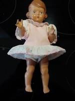 Antik 1950-es évek SCHILDKRÖTE celluloid baba   25 cm magas ruháján teknős motívum