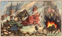 Gyűjthető grafikus katonai képeslap, N 36 Caen