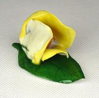 1E364 Aquincumi porcelán sárga virág rózsa levélen