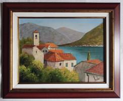 """Lantos György """"Kotori öböl"""" c. festmény keret nélkül, ingyen postával (kerettel 45.000.-)"""