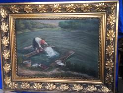 A tóban magányosan mosó nőt ábrázoló antik festmény .