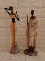 2 db Afrikai szobor. 31 - 34 cm.