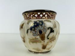 Teljes hagyaték aukción! Hibátlan ritka Zsolnay mini kaspó TJM családi jeles 1889 körül 1 Ft-ról!