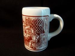 Jelenetes nagy méretű alföldi porcelán bögre, sörös korsó