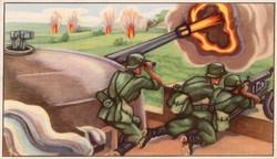 Gyűjthető grafikus katonai képeslap, N 21 Commandos
