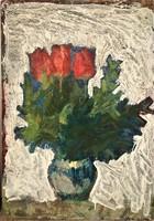 Vidéky Brigitta Iván Szilárdné (1911 - 2017) Csendélet c festménye 70x50cm EREDETI GARANCIÁVAL !
