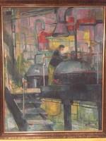 Vágfalvi Ottó:nagy mérető olaj vászon Szocreal képe