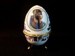 Nagyon szép kinyitható porcelán ékszertartó tojás, szelence Egyiptomi mintával 12 cm magas