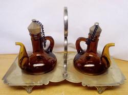 Asztali ezüstözött ecetes, olajos fűszeres kínáló, James Deakin & Sons, Egyedi ritkaság
