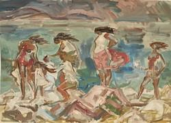 Vidéky Brigitta Iván Szilárdné (1911 - 2017) Balaton c festménye 70x50cm EREDETI GARANCIÁVAL !