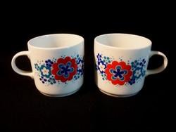 2 db virág mintás alföldi porcelán bögre, csésze