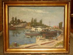 Eladó Fejes Gyula: Népszigeti hajókikötő című olajvászon festménye