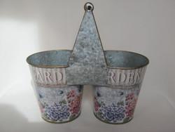 Vintage fém pléh 2-es virágtartó kaspó