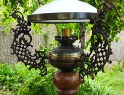 Gyönyörű különleges Réz és fa csillàr,lüszter làmpa,tejüveg.Barokk , rokokó mótivum