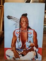 Foto Zoltán - Üllő indián - olaj karton festmény