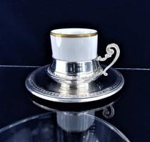Édes ezüst kávés csésze porcelán pohárral