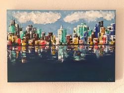 Kortárs absztrakt festmény a művésztől: Lagos, Victoria Island címmel