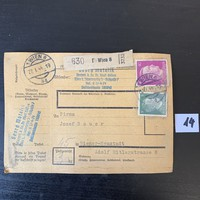 2. világháború csomag cédula Hitler fejes bélyeggel 1944 körül Paketzettel Deutsches Reich