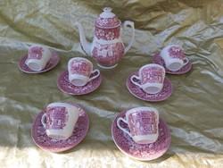 Angol kávés szett, coaching taverns 1828 royal tudor ware