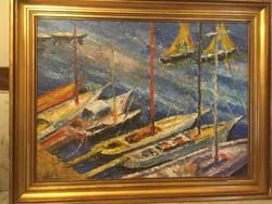 Vén Emil ( 1902-1984 ) gyönyörű színekkel meg festett  kikötőben várakozó hajókat ábrázoló festménye