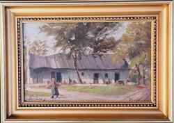 Ritkaság! Littkey Antal festőművész – Tanyaudvar című festménye – 158.