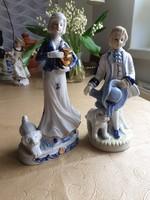Antik Hummel porcelán figura pár, hűséges pár kutyával eladó!