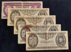 4 db 50 Forint + 1 db 100 Ft.
