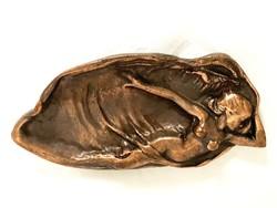 Szecessziós bronz névjegytartó akt nővel, asztaldísz olcsóbban