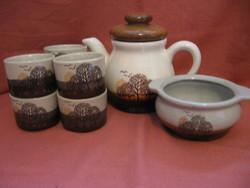 Tájképes retro teás készlet barna-beige