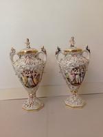 Antik capodimonte Capo di monte dúsan aranyozott sokalakos porcelán fedeles váza jobb oldali