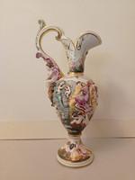Antik capodimonte Capo di monte dúsan aranyozott sokalakos porcelán dísz kancsó