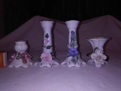 Négy darab porcelán, domború virágos gyertyatartó - együtt - Alba Julia,....