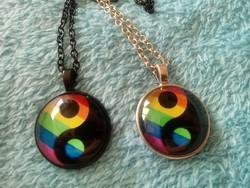 Egymáshoz illő- páros acél nyaklánc yin yang fekete ezüst szett