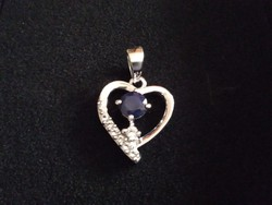 Kék zafír fehér topáz ezüst medál