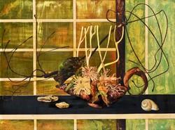 Aukcionált Korga György (1935-2002) zöld Moribana c.olajfestménye eladó