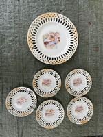 Csehszlovák Viktoria porcelán süteményes készlet - HIÁNYOS