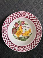 Hollóházi, Szakmáry korszakból, kakasos-tyúkos, 'Jó reggelt' fali dísztál, fajansz tányér