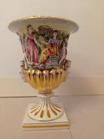 Antik capodimonte Capo di monte dúsan aranyozott sokalakos porcelán öblös dísz váza