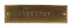 """1E414 Réz tábla """"CÉGVEZETŐ"""" 6 x 20 cm"""