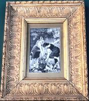 Érdekesség! Selyemképeslap, Emile Munier festőművész – A la Source című festménye alapján – 159.